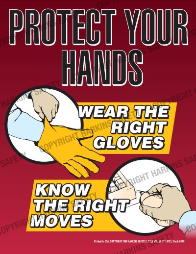 649 WM Hands - Protect Your Hands..Wear The Right Gloves (Poster) PT649
