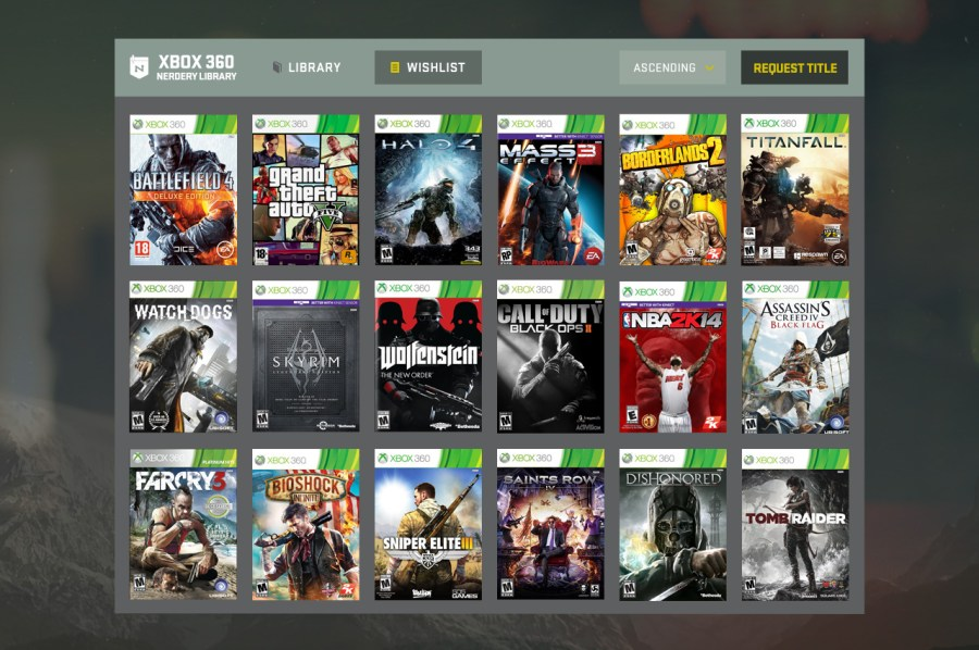 Xbox 360 Library UI Design A UI for finding new games added to The Nerdery s game library  with the  ability to vote for new games
