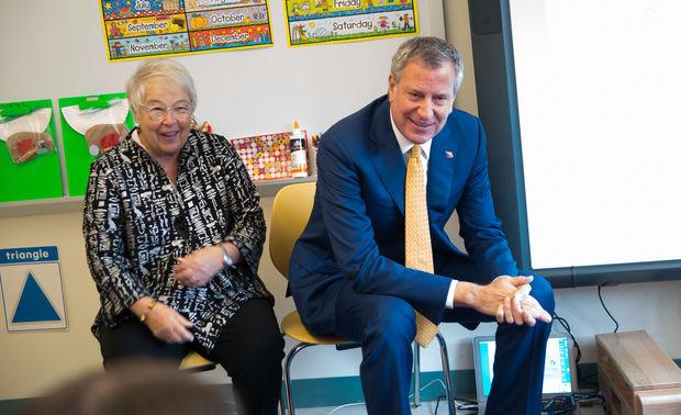Mayor Bill de Blasio and Chancellor Carmen Farina inside a