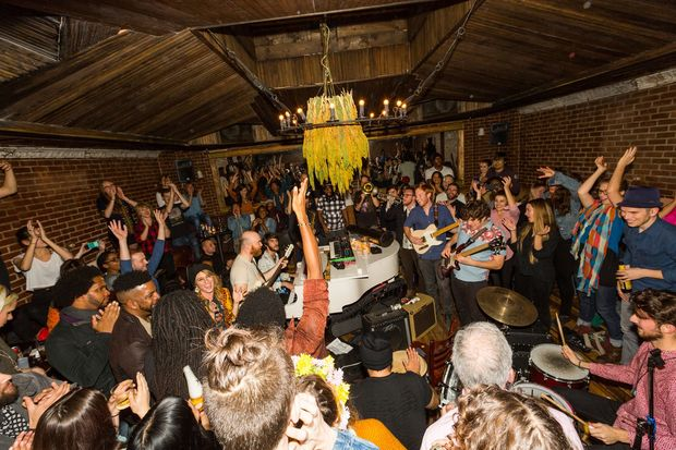 A dance party inside the The Manhattan Inn, a Greenpoint venue that closed in 2016.