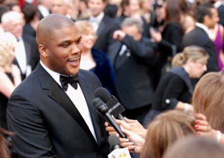 Tyler Perry mixes it up with media on the red carpet at the 82nd Academy Awards March 7, 2010 in Hollywood.