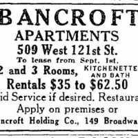 Bancroft Apartments, West Harlem NY 1912 (Postcard)