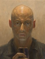 Self Portrait Waiting For Your Call 25 x 20cm Oil on Canvas 3017