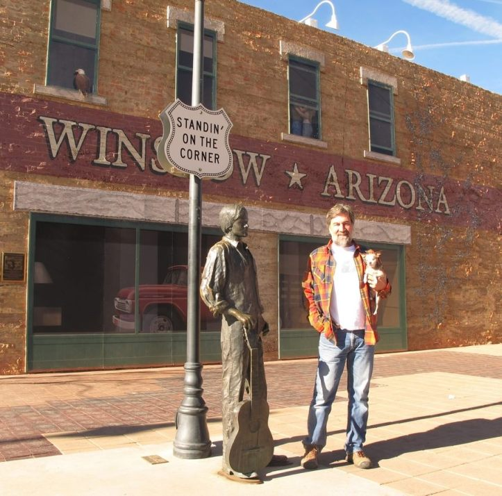 Harley dad Dan standing on a corner Winslow, Arizona