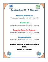 Microsoft Excel 2013 Basics & Intro to RBdigital @ Harlingen Public Library - Nonfiction Computer Lab