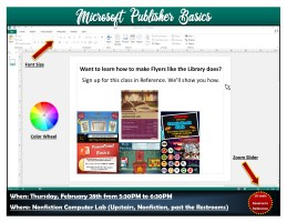 Microsoft Publisher Basics @ Harlingen Public Library - Nonfiction Computer Lab