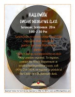 Cupcake Decorating Class- Halloween Cupcakes @ Harlingen Public Library-Conference Room