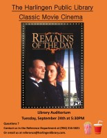 Classic Movie Cinema - Remains of the Day @ Harlingen Public Library - Auditorium