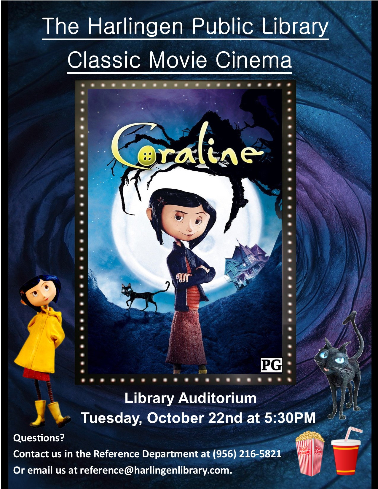 Classic Movie Cinema Coraline Harlingen Public Library