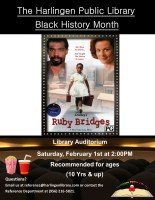 "Black History Month Movie Celebration Day ""Ruby Bridges"" @ Harlingen Public Library - Auditorium"