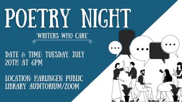 Hybrid Poetry Night (Auditorium/Zoom) @ Harlingen Public Library - Auditorium