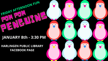 Friday Afternoon Fun: Pom Pom Penguins @ Harlingen Public Library Facebook and YouTube
