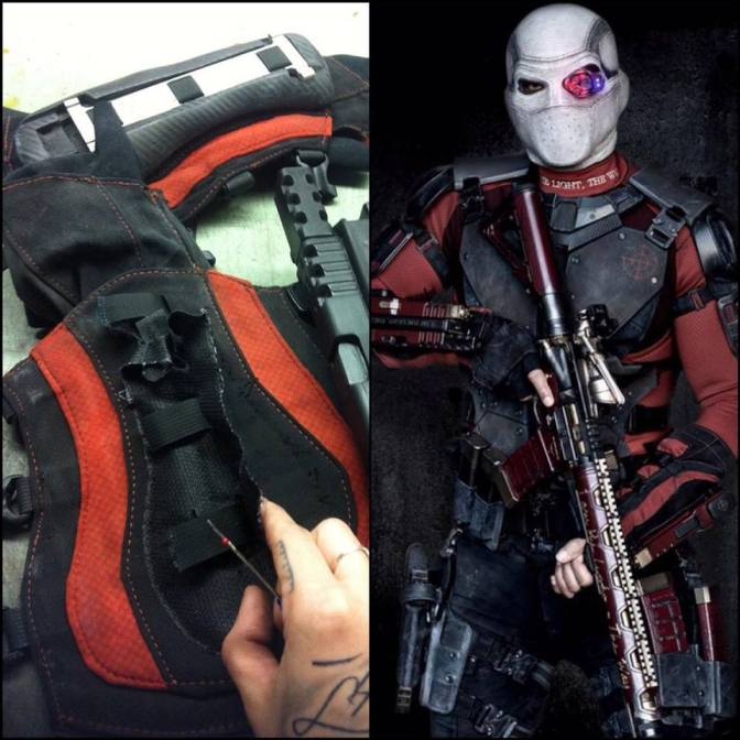 Fixing up Will Smith's arm guards to attach some guns during Suicide Squad filming