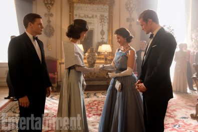 The Crown (L to R) Michael C. Hall, Jodi Balfour, Claire Foy, Matt Smith