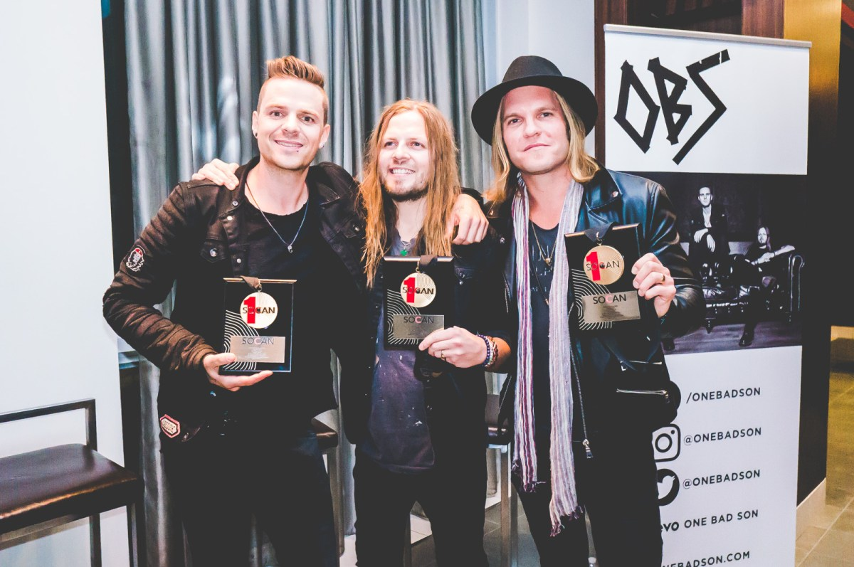 Photos: One Bad Son Celebrate SOCAN Award-Oct 12 2017