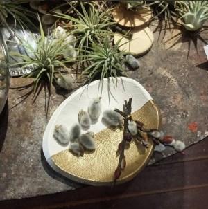 Handmade + hand-painted neutral/gold ceramics
