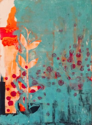Image: painting of blue and gold leaves amidst red dots.