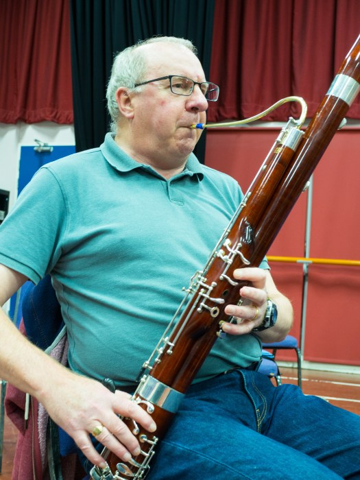 Kevin playing the bassoon