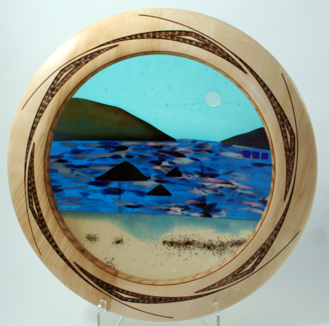 Extra large wide rimmed bowl seascape