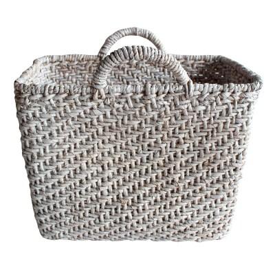 HOB1763, rect. basket, bahan water hyacinth, size top 46,5cmxh. 38-39cm ht.46-47cm, base 39x23,5cm