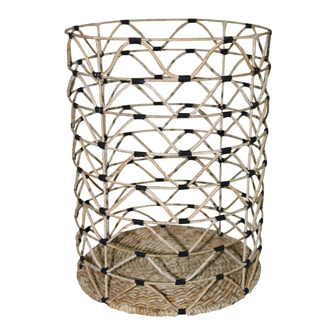 HOB1767, round laundry basket, bahan banana, metal, black cotton thread size dia.38,5cmxH.51cm