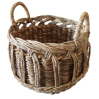 2. HOB1816, banana water hyacinth round basket, bahan banana, water hyacinth, size top 404-5cm, base 39cm, H.31cm, ht.43,5cm