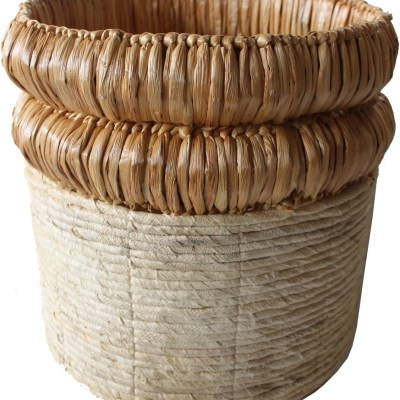 HOB2154 Banana water hyacinth basket in nat