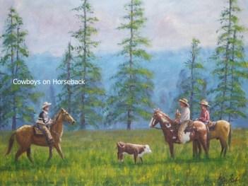 Cowboys-on-Horseback-In-Field-With-Calf-Kris-Taylor-Art copy