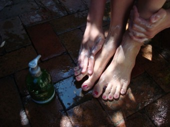 grapes - washing feet