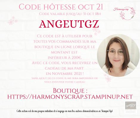 Affiche de présentation du code hôtesse pour les commandes en ligne de moins de 200€ pour gagner un cadeau de ma part en novembre!