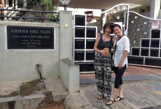 Deb and Jenesa outside the Mysore Ashtanga Yoga Shala
