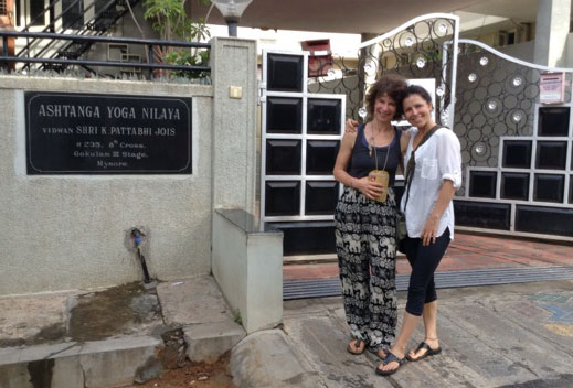 Deb and Jenesa outside the Mysore Ashtanga Yoga Shala