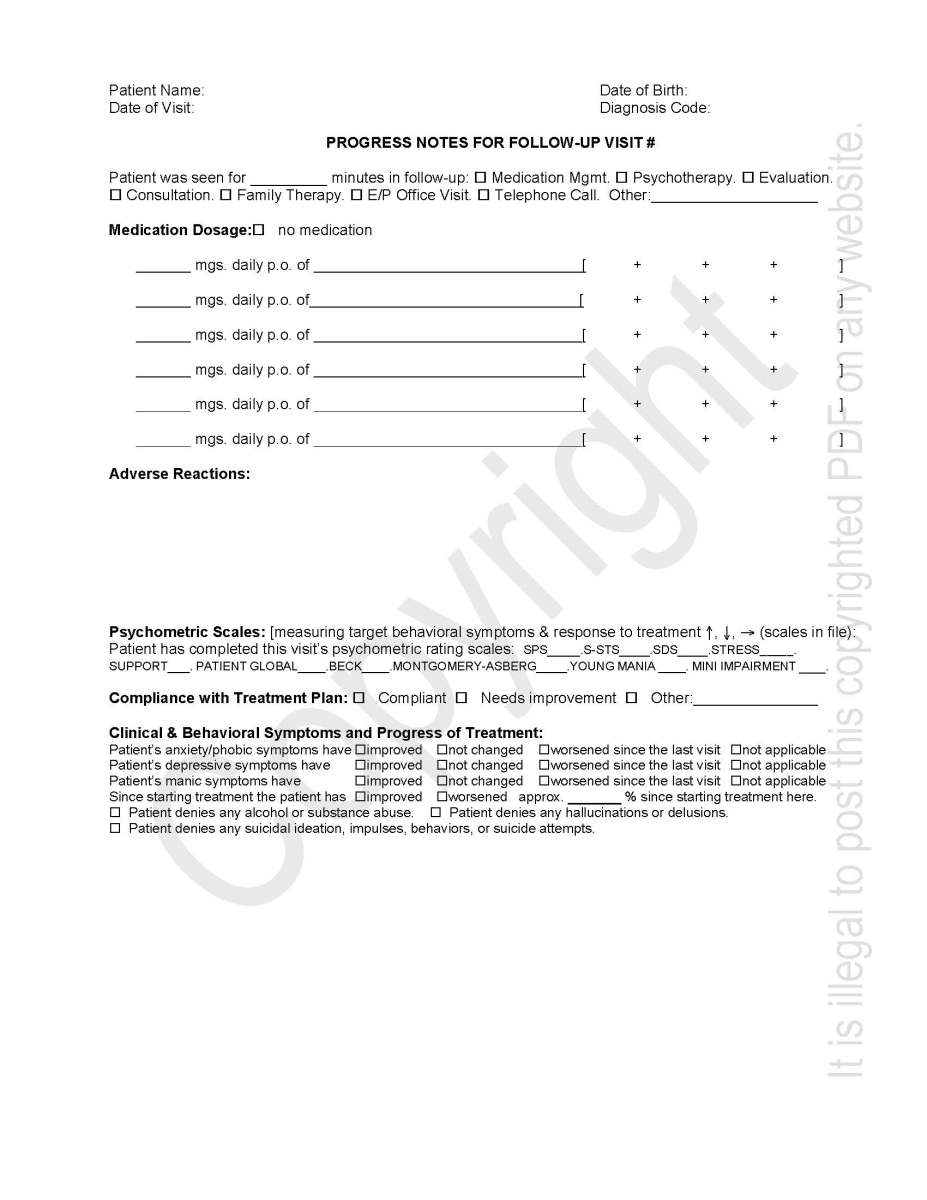 Progress Note Medical Soap Note Template  Medical Progress Note
