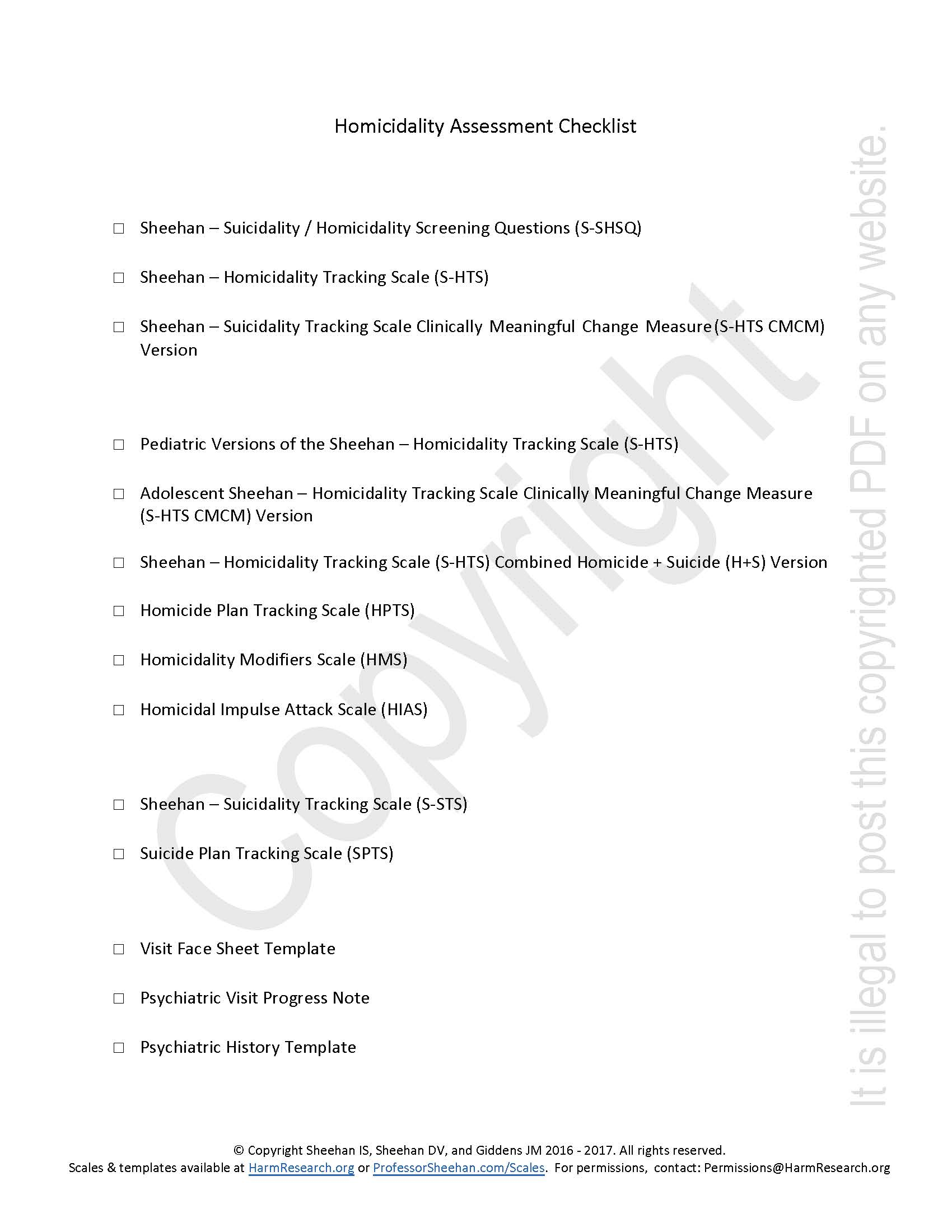 Homicidality Assessment Checklist – Harm Research