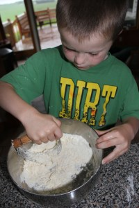 Using a pie crust cutter. Mix the following: 2 cups flour, 2 teaspoons baking powder, 2 teaspoons salt, 2 Tablespoons milk, and 1/2 cup butter. Mix then pat into a 9 x 13 cake pan.