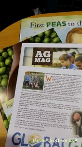 We were privileged to be part of the American Farm Bureau Foundation for Agriculture's Book of the Year project and were featured in their Ag Mag - great for students in 3rd -5th grade available in both English and Spanish. The Book of the Year is First Peas to the Table which tells a story of President Thomas Jefferson and his farm.
