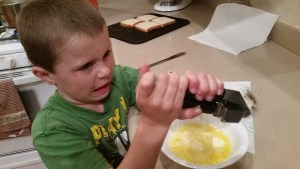 Sam helped me make garlic butter for our garlic bread this week. We love my OXO garlic press.