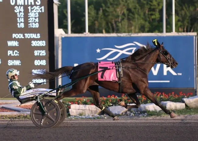 Hannelore Hanover won the fastest of the two Armbro Flight divisions when Yannick Gingras piloted her to a 1:52.2 victory | New Image Media