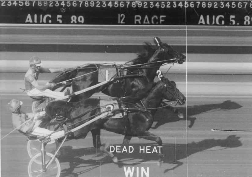 When Frank M. Antonacci had the win photo from the 1989 dead-heat Hambletonian digitally enlarged, he discovered that his family's horse Probe (2, Bill Fahy) appears to have won the race outright over Park Avenue Joe (Ron Waples).