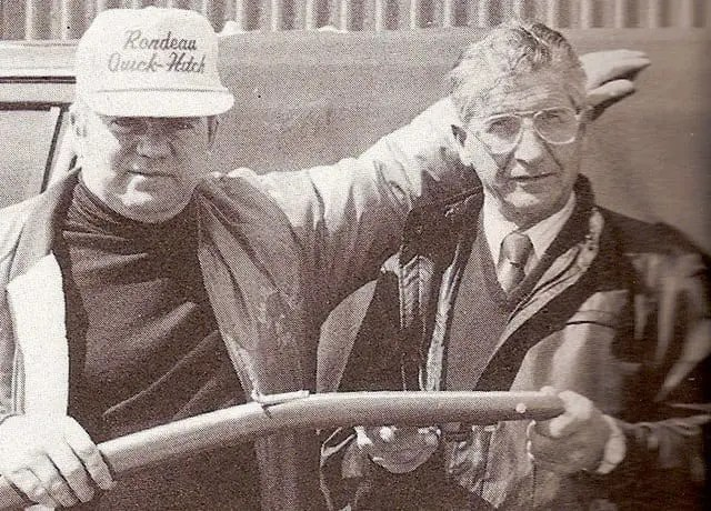 Trainer John Burns and Dr. Gordon Gilbertson, inventor of the Quick Hitch | CHRHF file photo