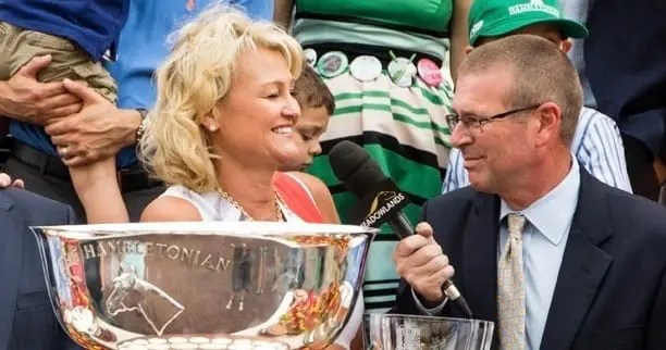 One year ago, we lost the incomparable Sam McKee (interviewing Christina Takter after Pinkman won the 2015 Hambletonian) | Dave Landry