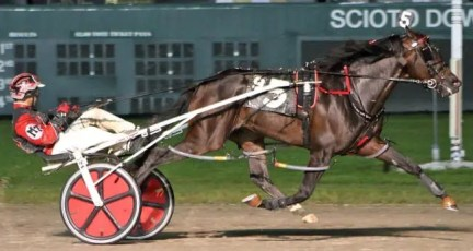 Brad Conrad | Lather Up (Montrell Teague) cruised to a 5 1/2 length win in the Ohio Sire Stakes Final in a track record 1:49.3 Saturday at Scioto Downs. The son of I'M Gorgeous is now headed to the 73rd Little Brown Jug.