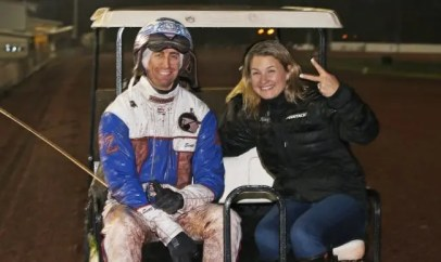 Claus Andersen Despite finishing second together with Kissin In The Sand, driver Scott Zeron and trainer Nancy Johansson teamed up to post a Crown triumph with Captain Crunch.