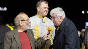 Chris Gooden Photos | Evan Pattak interviewing Ron Burke and Mickey Burke, Sr. in the winner's circle.