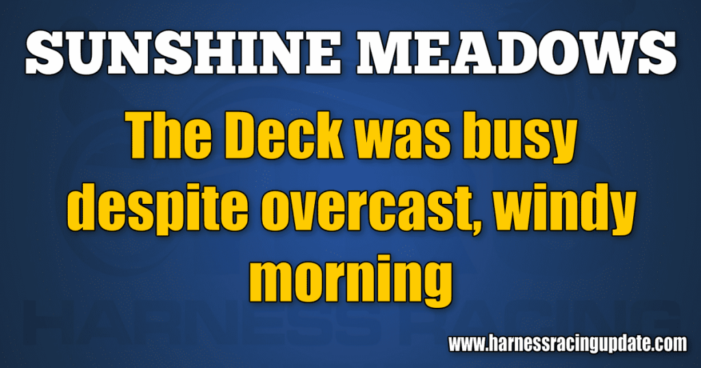 The Deck was busy despite overcast, windy morning