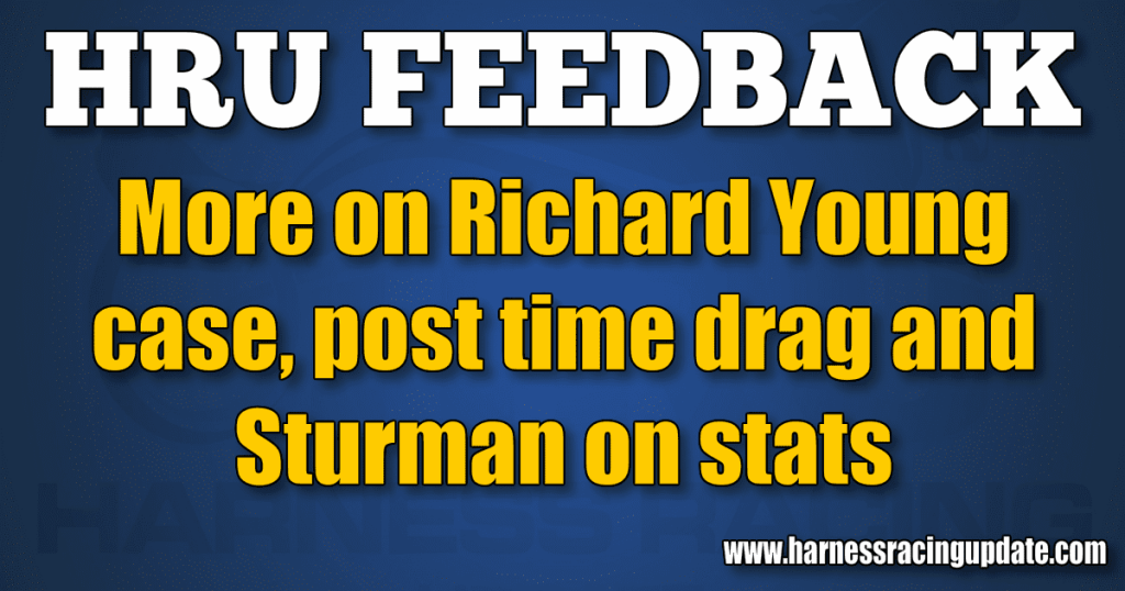 More on Richard Young case, post time drag and Sturman on stats