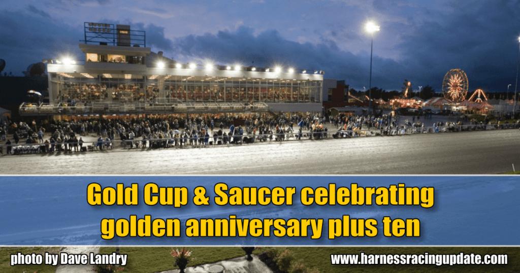 Gold Cup & Saucer celebrating golden anniversary plus ten