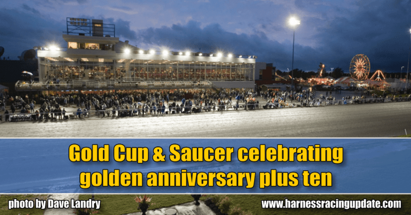 Gold Cup & Saucer celebrating golden anniversary plus ten