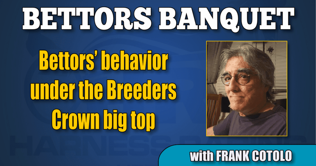 Bettors' behavior under the Breeders Crown big top