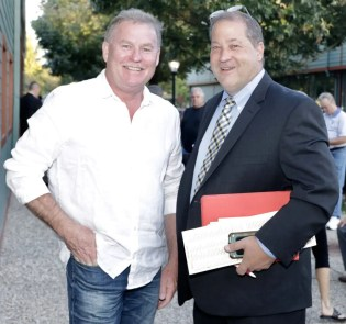 Dave Landry | Robert Lindstrom (left, with David Reid in 2017) purchased Googoo Gaagaa colt Captain Corey for $150,000 for SRF Stable of Sweden.